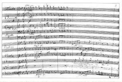 """""""Die Prüfung"""" Autographe Partitur ,erste Seite der Ouvertüre Gotha 1806"""