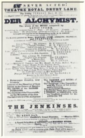 """Einige Opern Spohrs wurden auch in England aufgeführt, so 1832 """"Der Alchymist"""""""