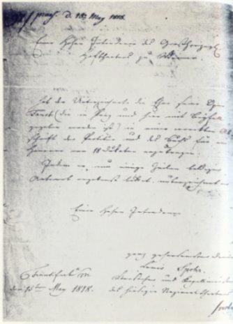"""1818 bot Spohr von Frankfurt aus seine 1813 in Wien entstandene Oper """"Faust"""" dem Großherzoglichen Hoftheater in Weimar für 18 Dukaten zur Aufführung an. Goethe war damals Intendant in Weimar"""