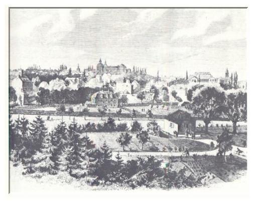 Gotha um 1830. In der Mitte ist im Vordergrund Spohrs ehemaliges Wohnhaus zu sehen
