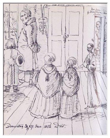 Ludwig Emil Grimm mit Frau und Tochter zu Besuch am 27. Januar 1852 im Hause Louis Spohrs. Grimms Karrikatur verdeutlicht Spohrs überragende Größe und Mariannes unendliche Verehrung für ihren Mann