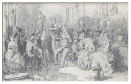 Carl Heinrich Arnold, David-Schüler, Freund und Gönner von Menzels, zeichnete um 1835 eine Quartettsoiree im Hause Spohrs, der in der Mitte sitzend zu erkennen ist