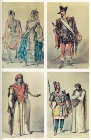 """Kostümentwürfe für Spohrs bekannteste Oper """"Jessonda"""": """"Jessonda und Amazili"""", """"Tristan d´Acunha"""", """"Dandau"""", """"indischer Krieger und Brahmin"""""""