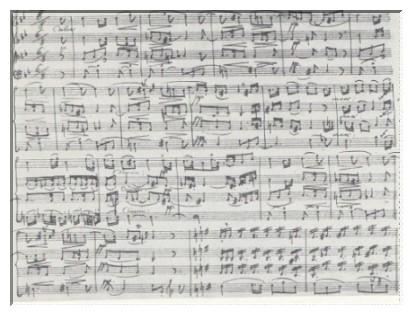 Beginn der Larghetto aus dem Streichquartett B-dur, op. 74 Nr. 2 in Spohrs autographer Partitur