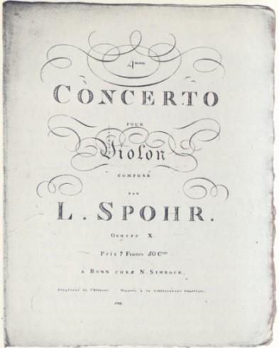 Titelblatt des vierten Violinkonzerts h-moll, op. 10. Das Werk entstand 1805 in Gotha und wurde 1808 bei Simrock verlegt.