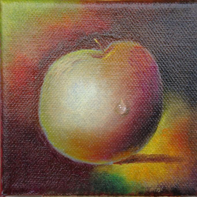 Apfel mit pomponistischem Wassertropfen
